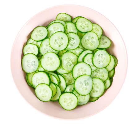 cut cucumbers isolated on white Standard-Bild - 124532094