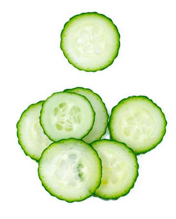 cut cucumbers isolated on white Standard-Bild - 124532101
