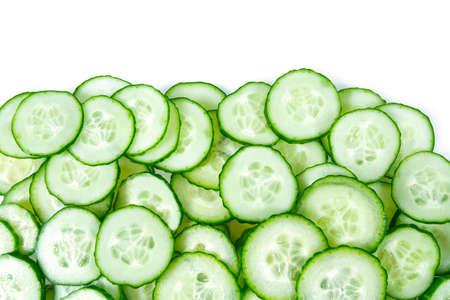 cut cucumbers isolated on white Standard-Bild - 124532438