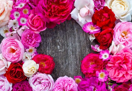 beautiful rose frame on wooden surface