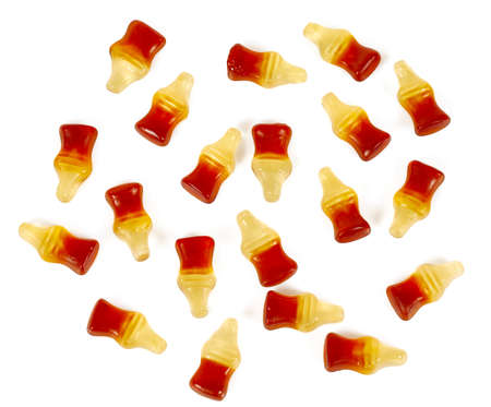 cola chewy candies isolated on white