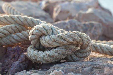 naval rope on a pier Stock fotó