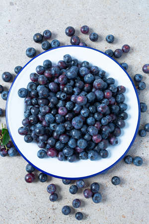 fresh blueberries in a metallic bowl
