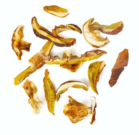 dried boletus edulis isolated on white background