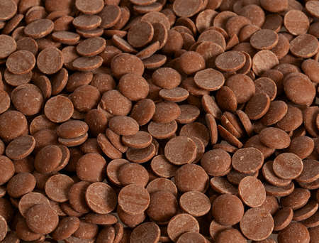 chocolate chips isolated on white Stok Fotoğraf