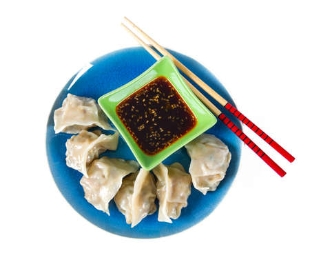 fresh japanese gyoza dumplings with soya souce