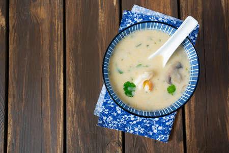 hot coconut mushroom and shrimp soup Stok Fotoğraf