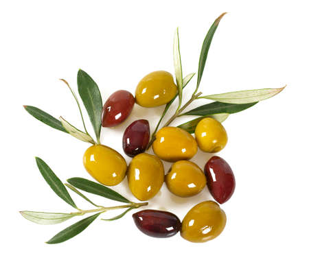 tasty olives and oil isolated on white background