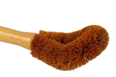 coconut brush with wooden handle Stock fotó