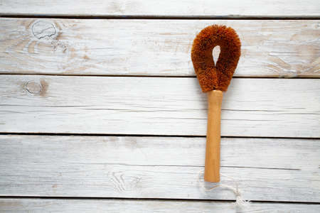 coconut brush with wooden handle