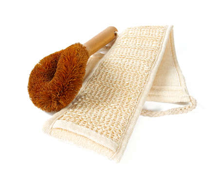 natural brushes and scourer isolated on white