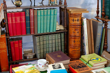 books and other treasures in flea market Reklamní fotografie