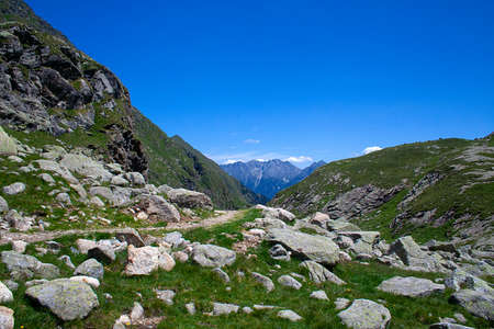 mountain landscape on a clear day, hiking path