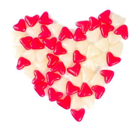 heart-shaped jelly candies isolated on white
