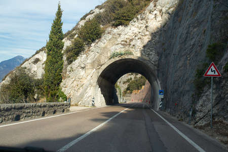 entering the tunnel road in a mountain