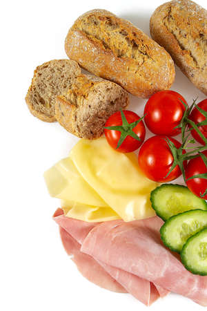 ingredients for wholegrain ciabatta sandwich