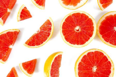 grapefruit slices isolated on white