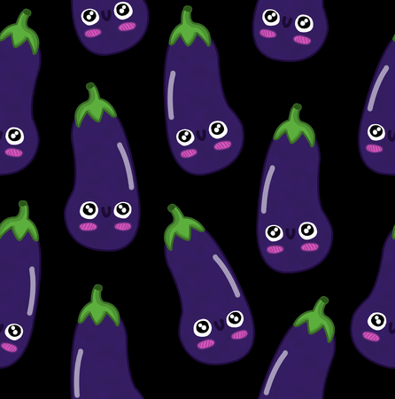 fruits seamless pattern isolated black background eggplant