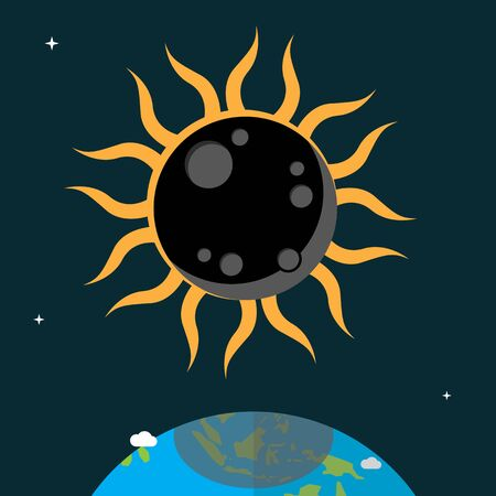 solar eclipse: Solar Eclipse flat design Illustration