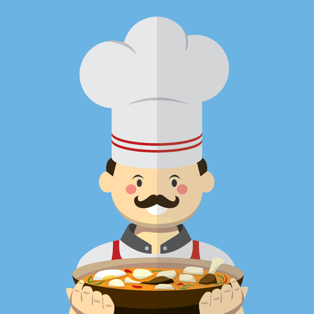 curry dish: Chef vector flat style