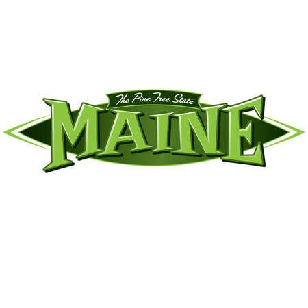 albero pino: Stato Maine Il Pino Vettoriali