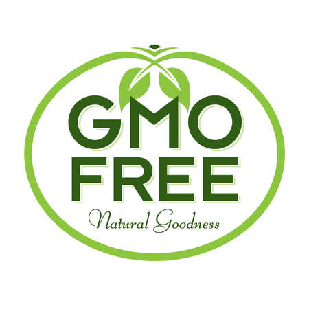 GMO Free Natural Goodness Vector Illustration Graphic Oval Symbol Typographic Ilustracja