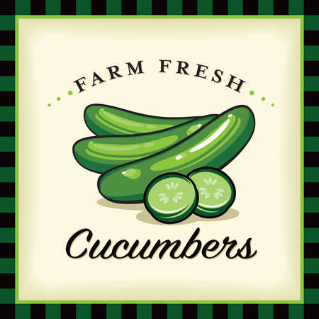 Farm Fresh Cucumbers Vector Illustration and Typographic Retro Sign