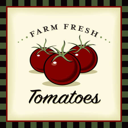 Farm Fresh Tomatoes Vector Illustration and Typographic Retro Sign