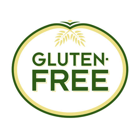 Gluten-Free Logo. Graphic Oval Typographic Icon. Fully editable vector illustration for web, print and food packaging. Ilustracja