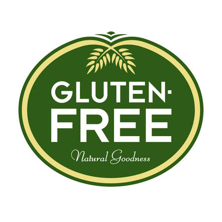 Gluten-Free Natural Goodness Logo. Graphic Oval Typographic Icon. Fully editable vector illustration for web, print and food packaging. Ilustracja