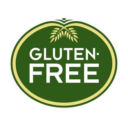 Glutenvrij logo. Grafisch ovaal typografisch pictogram. Volledig bewerkbare vectorillustratie voor het web, print en voedsel verpakking.
