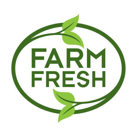 Farm Fresh Logo. Graphic Oval Typographic Icon.