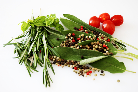 Spices And Herbs Mixed With Peppercorns