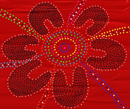 aboriginal woman: Tribal Meeting Place - Aboriginal Art Stock Photo