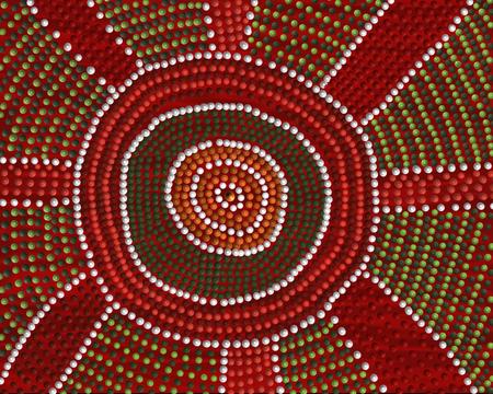 出会いの場を描いたアボリジニのドット絵風のフリーハンド画像。 写真素材