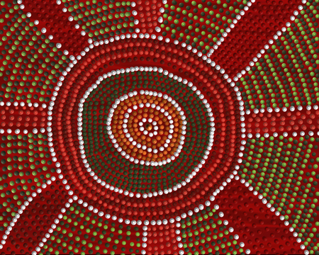 A freehand image in an aboriginal dot painting style depicting a meeting place. 版權商用圖片