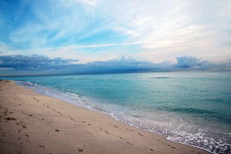 Footprints on Miami Beach.