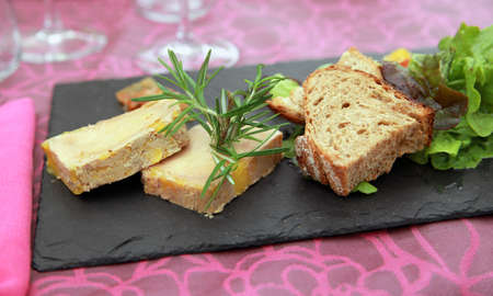Foie Gras (country style) on slate Stock Photo