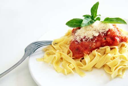 Tagliatelle Sicilian Sauce (raw tomato, basil & garlic) Stock Photo