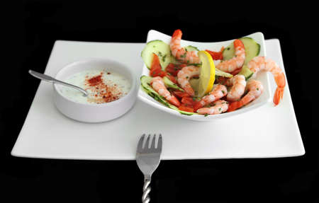 Shrimp & Cucumber with cream sauce on side