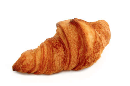 One Croissant over White Stock Photo