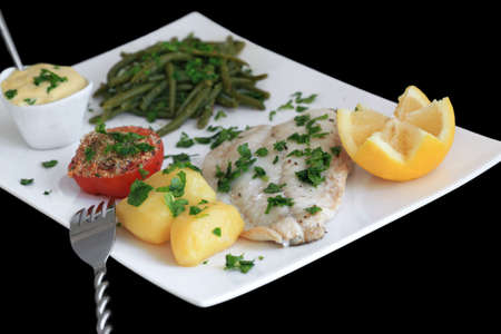 Aioli: poached fish with garlic sauce (Mediterranean cuisine) Stock Photo