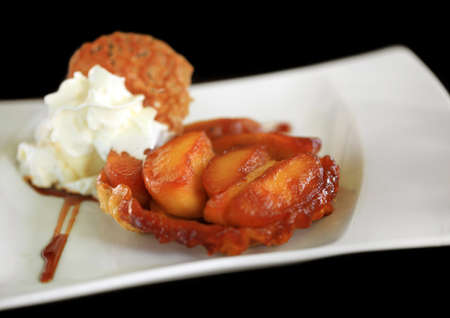 Apple Tart  Tatin  Style  French cuisine - cooked upside down for caramel
