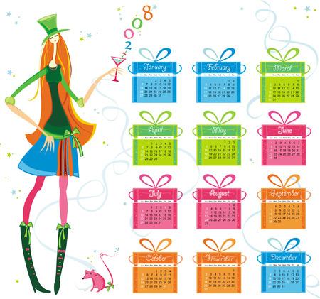2008 calendar with girl, rat Stock Vector - 4747702