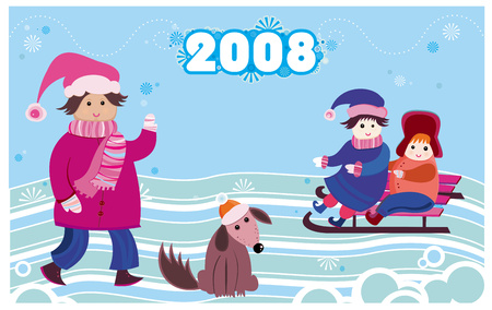 seasonable: 2008 new year card with kids Illustration