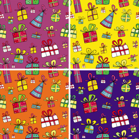 Seamless christmas presents pattern set. Vector