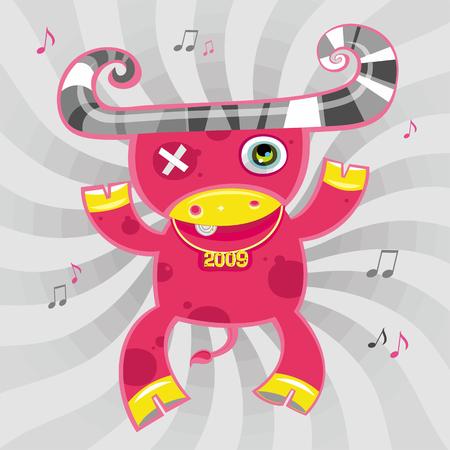 2009 cartoon ox - new year symbol Vector