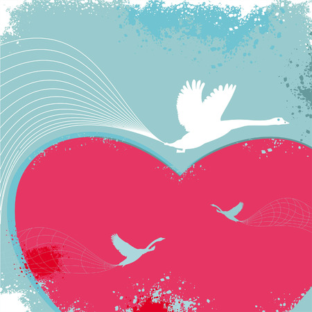 Valentine card with birds.  Vector