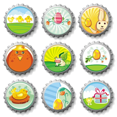 Easter bottle caps- buttons Vector