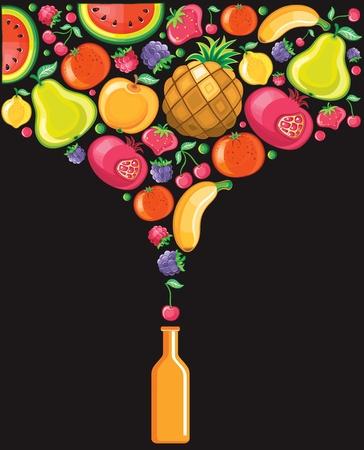 combined: Diferentes tipos de frutas deliciosas combinan en una forma de refrescos.